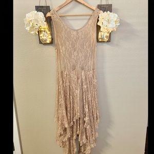 Unique Champagne Multilayered Lace Dress